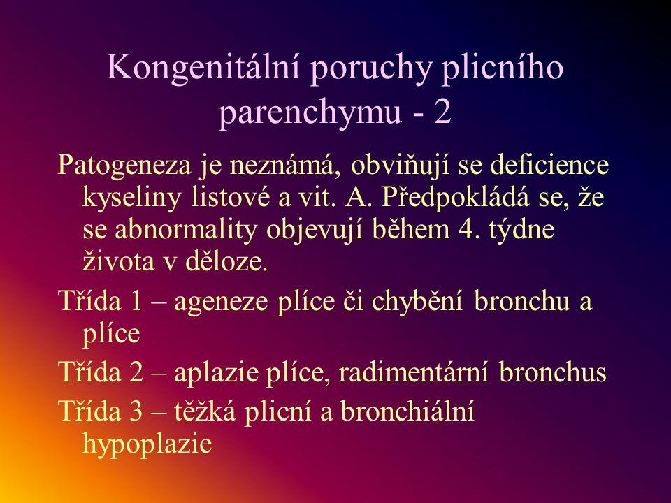 Kongenitální poruchy plicního parenchymu - 2 Patogeneza je neznámá, obviňují se deficience kyseliny listové a vit. A. Předpokládá se, že se abnormalit