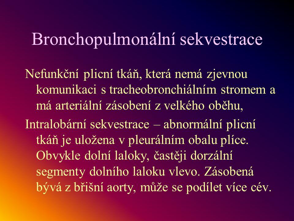Bronchopulmonální sekvestrace Nefunkční plicní tkáň, která nemá zjevnou komunikaci s tracheobronchiálním stromem a má arteriální zásobení z velkého ob