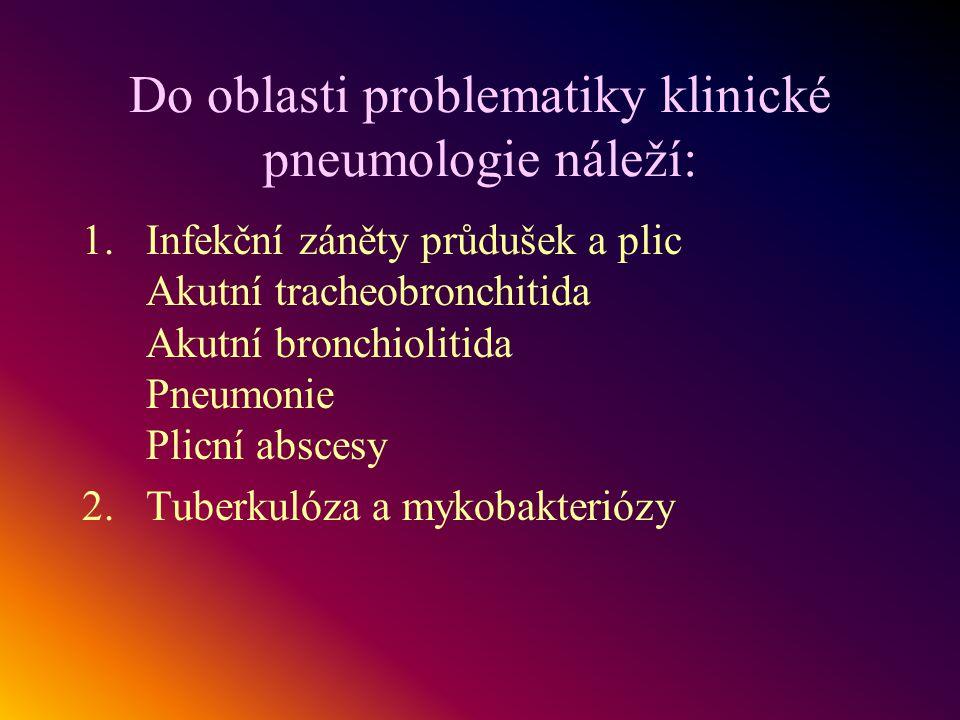 Do oblasti problematiky klinické pneumologie náleží: 1.Infekční záněty průdušek a plic Akutní tracheobronchitida Akutní bronchiolitida Pneumonie Plicn