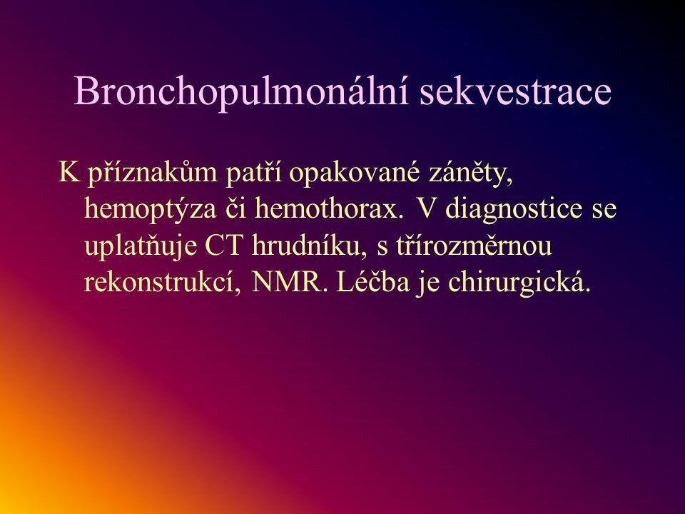 Bronchopulmonální sekvestrace K příznakům patří opakované záněty, hemoptýza či hemothorax. V diagnostice se uplatňuje CT hrudníku, s třírozměrnou reko
