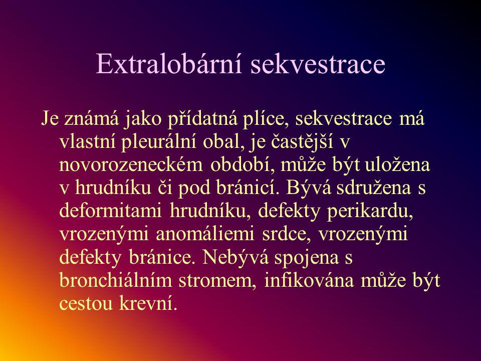 Extralobární sekvestrace Je známá jako přídatná plíce, sekvestrace má vlastní pleurální obal, je častější v novorozeneckém období, může být uložena v