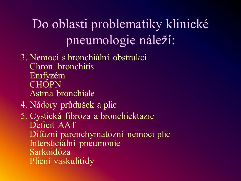 Do oblasti problematiky klinické pneumologie náleží: 3. Nemoci s bronchiální obstrukcí Chron. bronchitis Emfyzém CHOPN Astma bronchiale 4. Nádory průd
