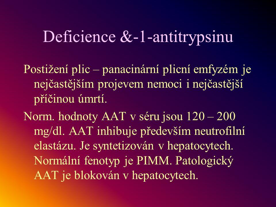 Deficience &-1-antitrypsinu Postižení plic – panacinární plicní emfyzém je nejčastějším projevem nemoci i nejčastější příčinou úmrtí. Norm. hodnoty AA