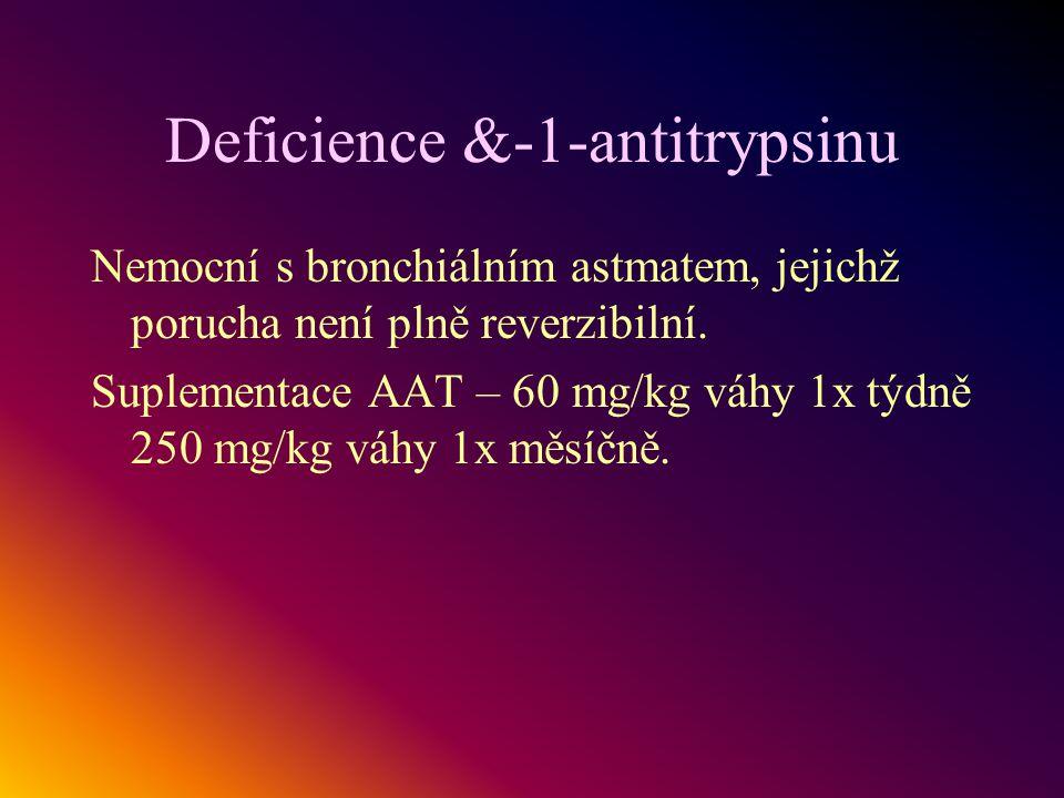 Deficience &-1-antitrypsinu Nemocní s bronchiálním astmatem, jejichž porucha není plně reverzibilní. Suplementace AAT – 60 mg/kg váhy 1x týdně 250 mg/