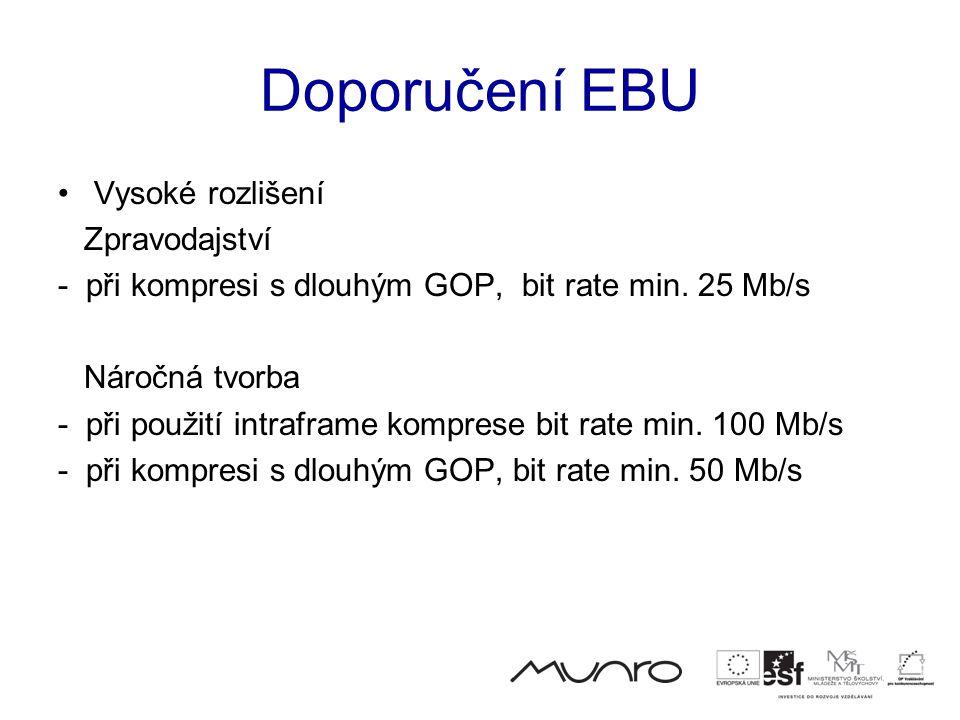 Doporučení EBU •Vysoké rozlišení Zpravodajství - při kompresi s dlouhým GOP, bit rate min.
