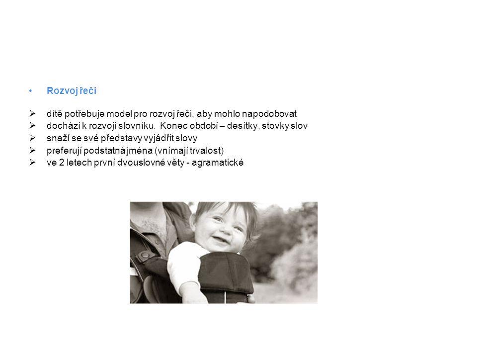 •Rozvoj řeči  dítě potřebuje model pro rozvoj řeči, aby mohlo napodobovat  dochází k rozvoji slovníku. Konec období – desítky, stovky slov  snaží s