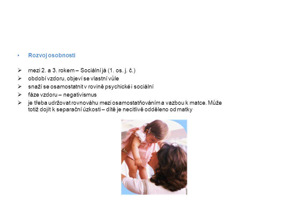•Rozvoj osobnosti  mezi 2.a 3. rokem – Sociální já (1.