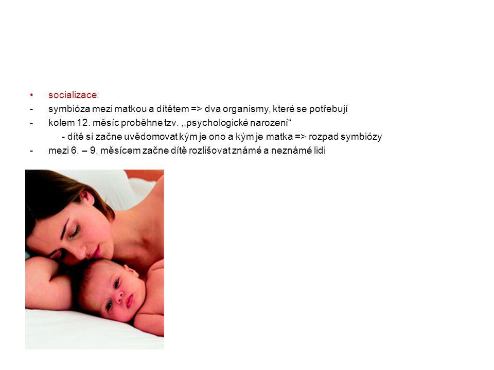 """•socializace: -symbióza mezi matkou a dítětem => dva organismy, které se potřebují -kolem 12. měsíc proběhne tzv.,,psychologické narození"""" - dítě si z"""