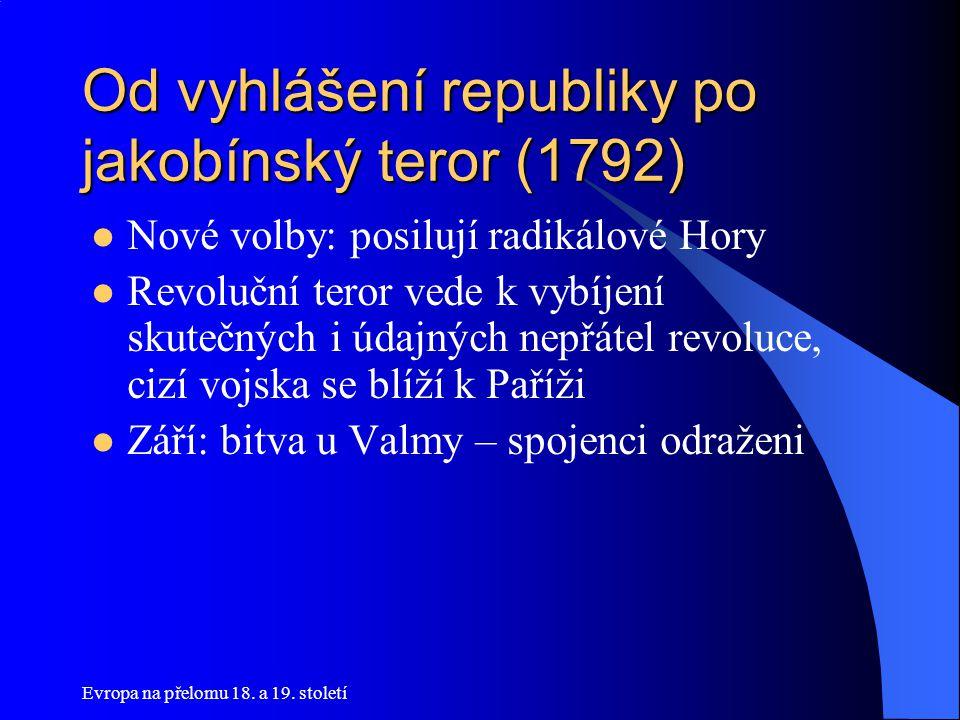 Evropa na přelomu 18. a 19. století Od vyhlášení republiky po jakobínský teror (1792)  Nové volby: posilují radikálové Hory  Revoluční teror vede k
