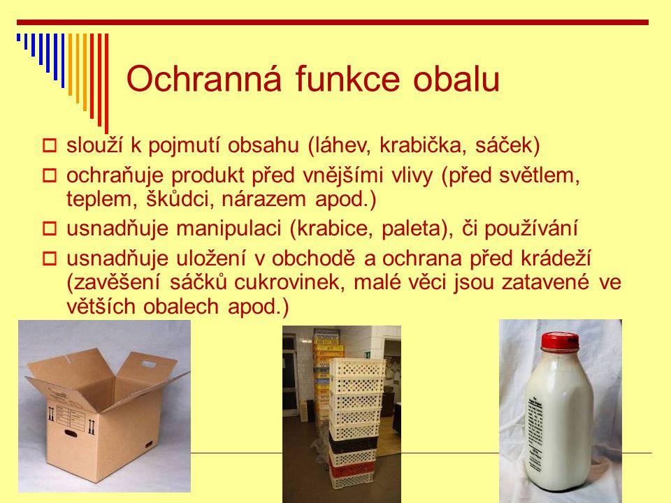 Ochranná funkce obalu  slouží k pojmutí obsahu (láhev, krabička, sáček)  ochraňuje produkt před vnějšími vlivy (před světlem, teplem, škůdci, náraze