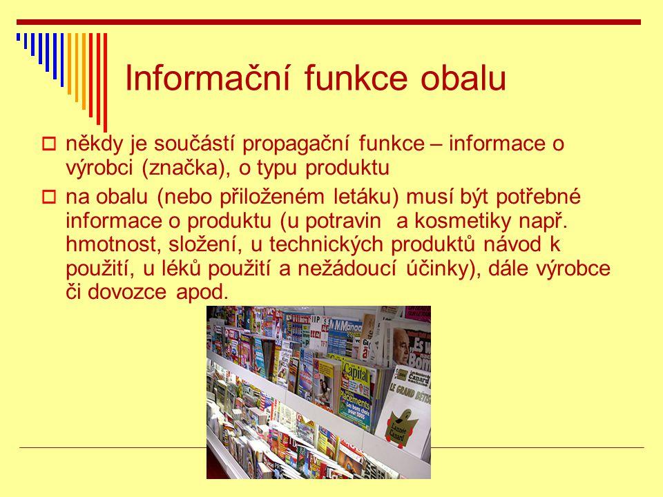 Informační funkce obalu  někdy je součástí propagační funkce – informace o výrobci (značka), o typu produktu  na obalu (nebo přiloženém letáku) musí