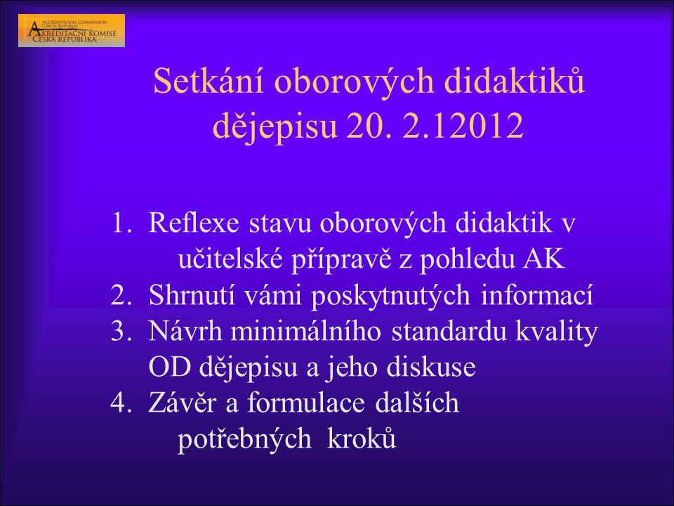 Setkání oborových didaktiků dějepisu 20. 2.12012 1.Reflexe stavu oborových didaktik v učitelské přípravě z pohledu AK 2.Shrnutí vámi poskytnutých info