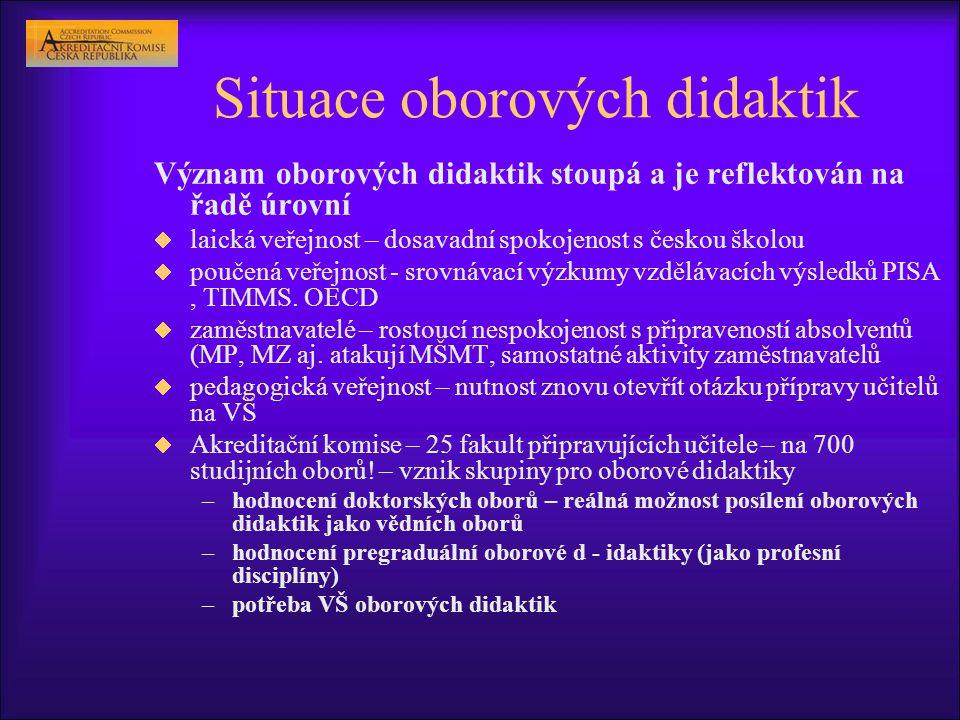 Situace oborových didaktik Význam oborových didaktik stoupá a je reflektován na řadě úrovní  laická veřejnost – dosavadní spokojenost s českou školou  poučená veřejnost - srovnávací výzkumy vzdělávacích výsledků PISA, TIMMS.