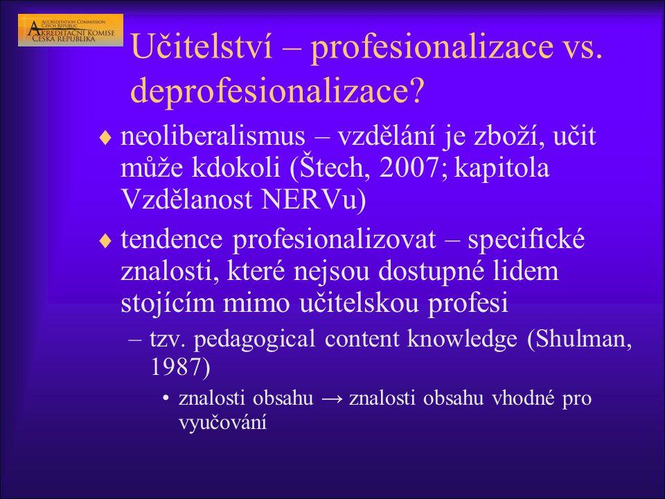 Učitelství – profesionalizace vs. deprofesionalizace?  neoliberalismus – vzdělání je zboží, učit může kdokoli (Štech, 2007; kapitola Vzdělanost NERVu