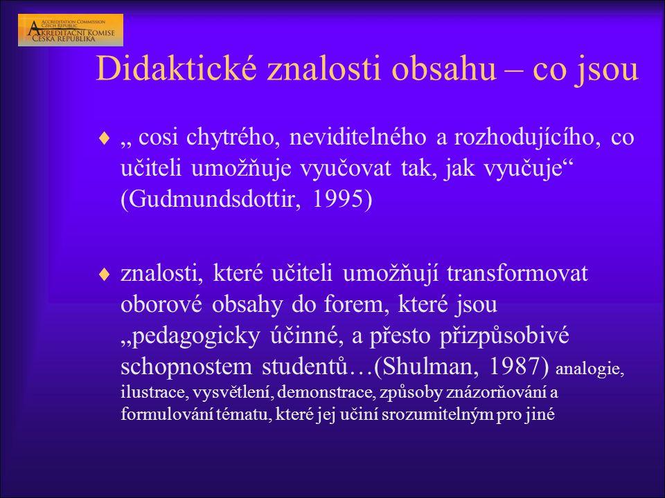 """Didaktické znalosti obsahu – co jsou  """" cosi chytrého, neviditelného a rozhodujícího, co učiteli umožňuje vyučovat tak, jak vyučuje (Gudmundsdottir, 1995)  znalosti, které učiteli umožňují transformovat oborové obsahy do forem, které jsou """"pedagogicky účinné, a přesto přizpůsobivé schopnostem studentů…(Shulman, 1987) analogie, ilustrace, vysvětlení, demonstrace, způsoby znázorňování a formulování tématu, které jej učiní srozumitelným pro jiné"""