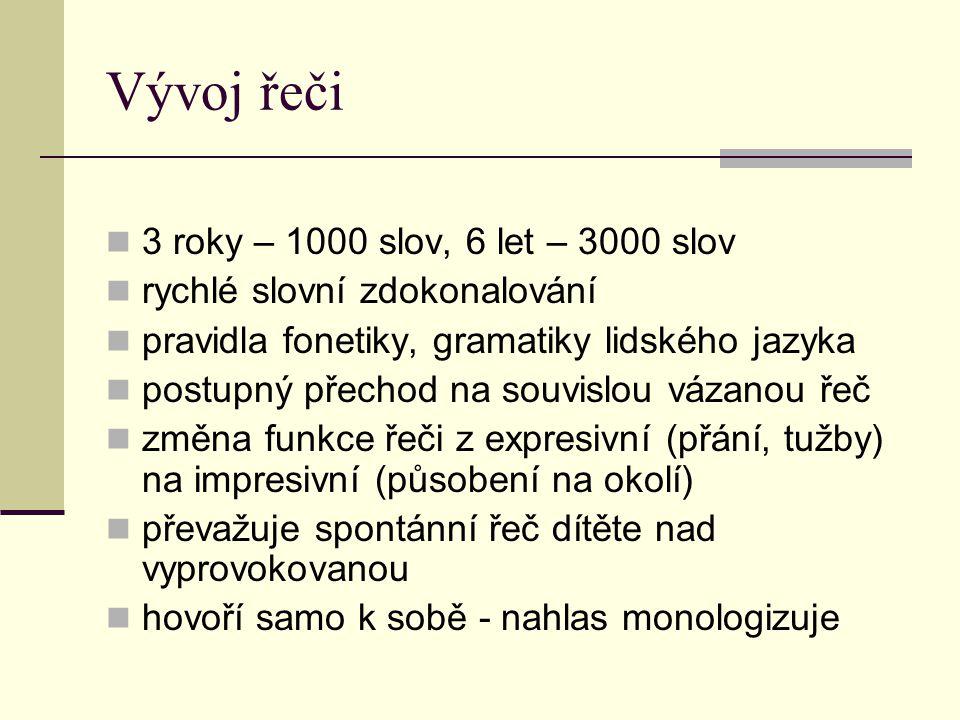 Vývoj řeči  3 roky – 1000 slov, 6 let – 3000 slov  rychlé slovní zdokonalování  pravidla fonetiky, gramatiky lidského jazyka  postupný přechod na