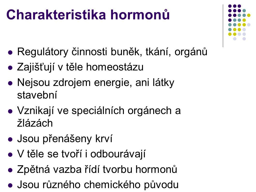 Charakteristika hormonů  Regulátory činnosti buněk, tkání, orgánů  Zajišťují v těle homeostázu  Nejsou zdrojem energie, ani látky stavební  Vznika