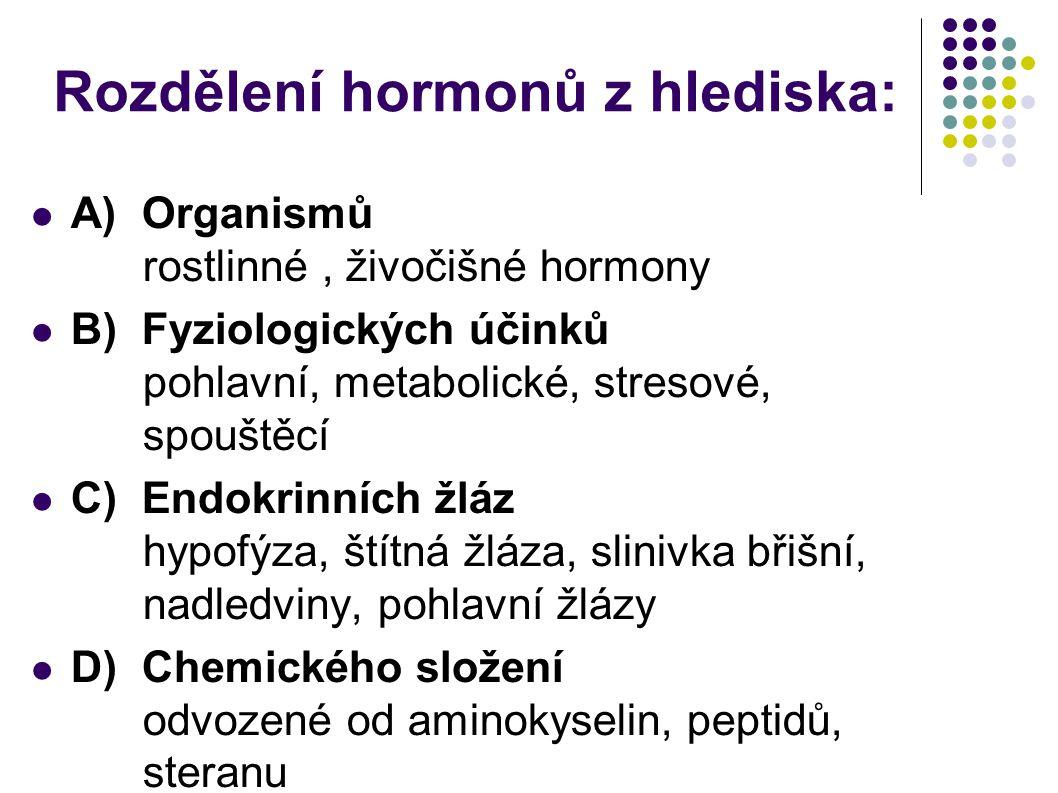 Rozdělení hormonů z hlediska:  A) Organismů rostlinné, živočišné hormony  B) Fyziologických účinků pohlavní, metabolické, stresové, spouštěcí  C) E