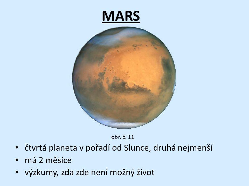MARS • čtvrtá planeta v pořadí od Slunce, druhá nejmenší • má 2 měsíce • výzkumy, zda zde není možný život obr.