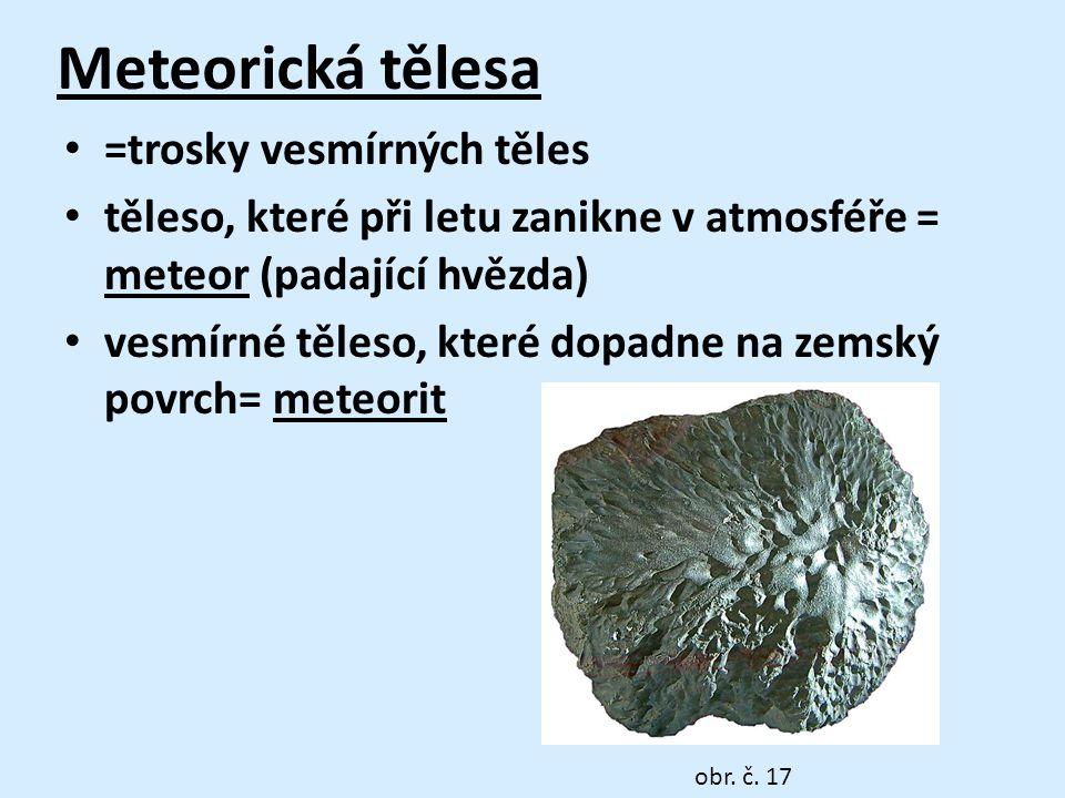Meteorická tělesa • =trosky vesmírných těles • těleso, které při letu zanikne v atmosféře = meteor (padající hvězda) • vesmírné těleso, které dopadne na zemský povrch= meteorit obr.