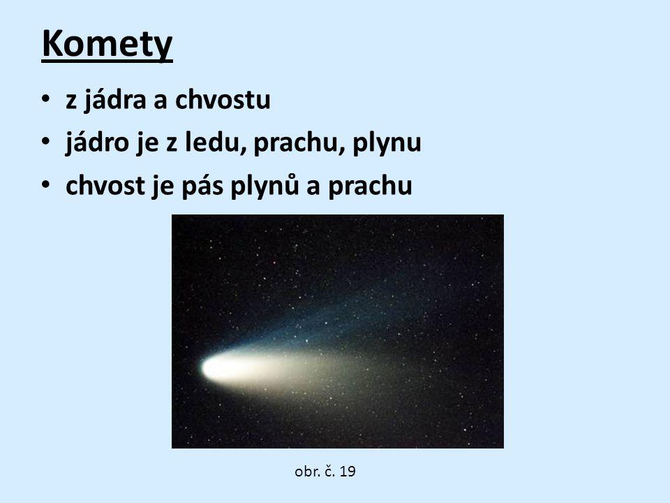 Komety • z jádra a chvostu • jádro je z ledu, prachu, plynu • chvost je pás plynů a prachu obr.