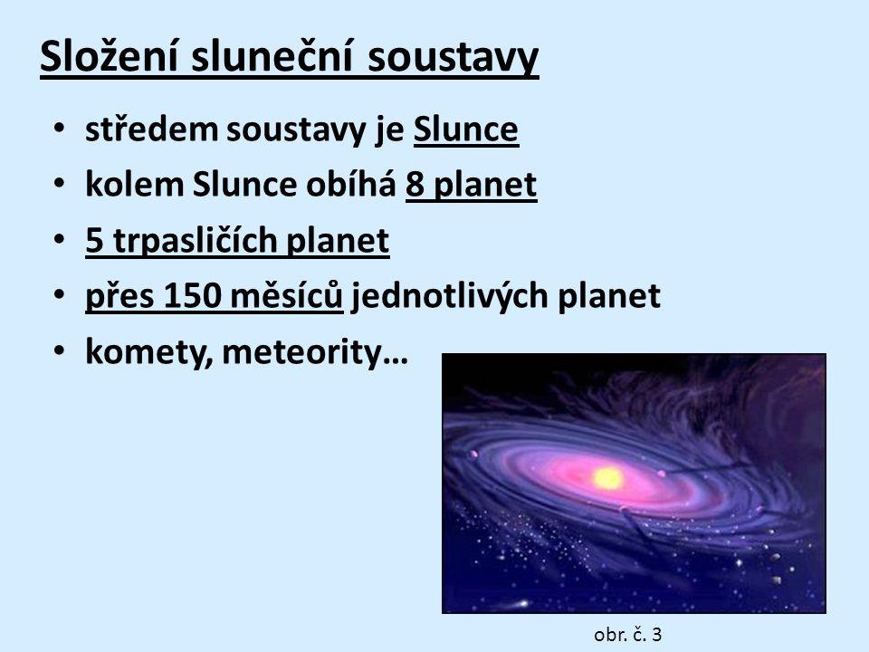 Složení sluneční soustavy • středem soustavy je Slunce • kolem Slunce obíhá 8 planet • 5 trpasličích planet • přes 150 měsíců jednotlivých planet • komety, meteority… obr.