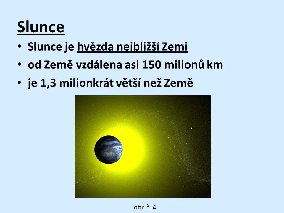 Slunce • Slunce je hvězda nejbližší Zemi • od Země vzdálena asi 150 milionů km • je 1,3 milionkrát větší než Země obr.