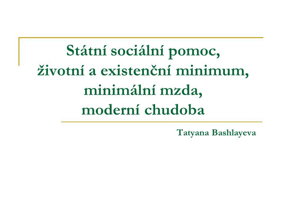 Státní sociální pomoc, životní a existenční minimum, minimální mzda, moderní chudoba Tatyana Bashlayeva