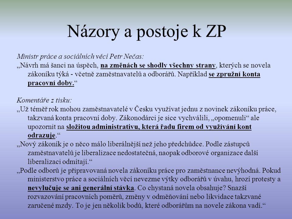 """Názory a postoje k ZP Ministr práce a sociálních věcí Petr Nečas: """"Návrh má šanci na úspěch, na změnách se shodly všechny strany, kterých se novela zá"""