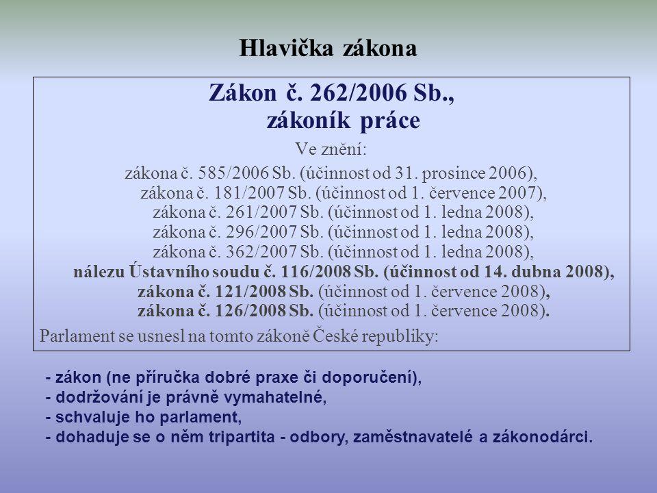 Hlavička zákona Zákon č. 262/2006 Sb., zákoník práce Ve znění: zákona č. 585/2006 Sb. (účinnost od 31. prosince 2006), zákona č. 181/2007 Sb. (účinnos