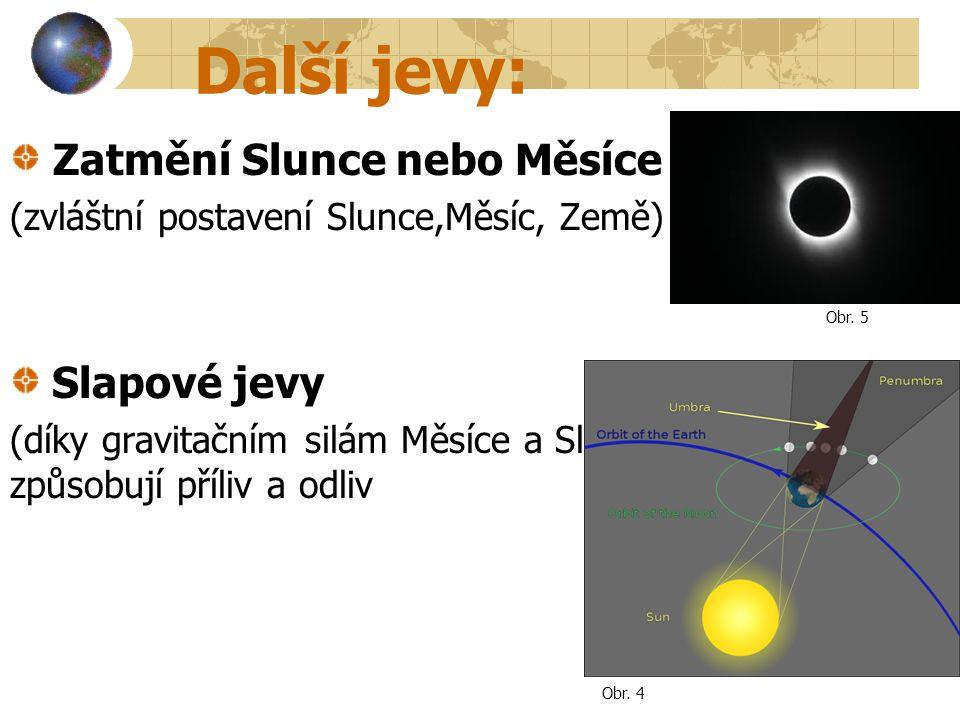 Další jevy: Zatmění Slunce nebo Měsíce (zvláštní postavení Slunce,Měsíc, Země) Slapové jevy (díky gravitačním silám Měsíce a Slunce) způsobují příliv
