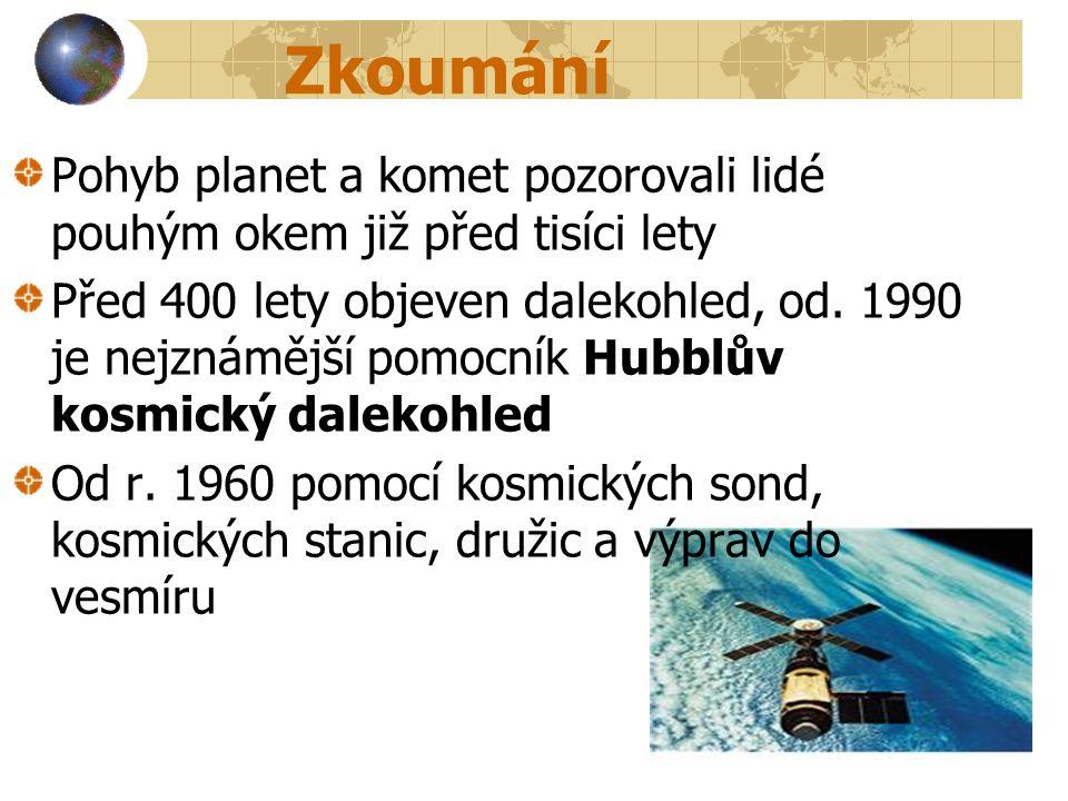 Zkoumání Pohyb planet a komet pozorovali lidé pouhým okem již před tisíci lety Před 400 lety objeven dalekohled, od. 1990 je nejznámější pomocník Hubb