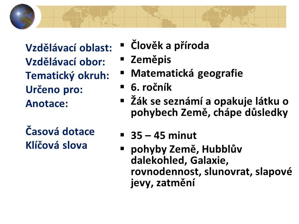 Vzdělávací oblast: Vzdělávací obor: Tematický okruh: Určeno pro: Anotace: Časová dotace Klíčová slova  Člověk a příroda  Zeměpis  Matematická geogr