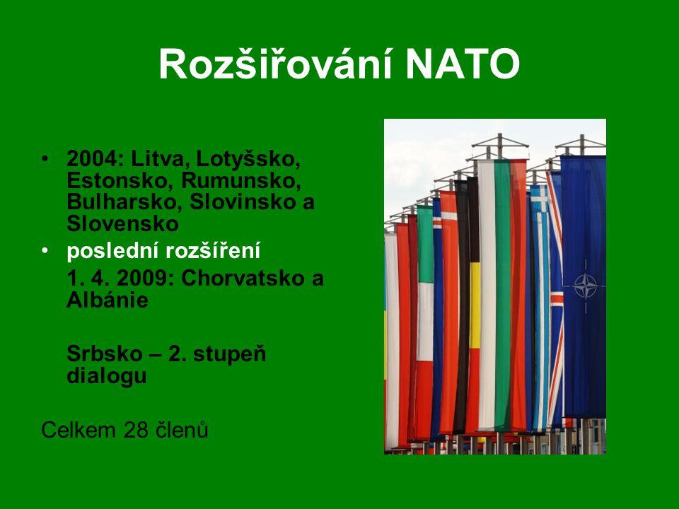 Rozšiřování NATO •2004: Litva, Lotyšsko, Estonsko, Rumunsko, Bulharsko, Slovinsko a Slovensko •poslední rozšíření 1. 4. 2009: Chorvatsko a Albánie Srb