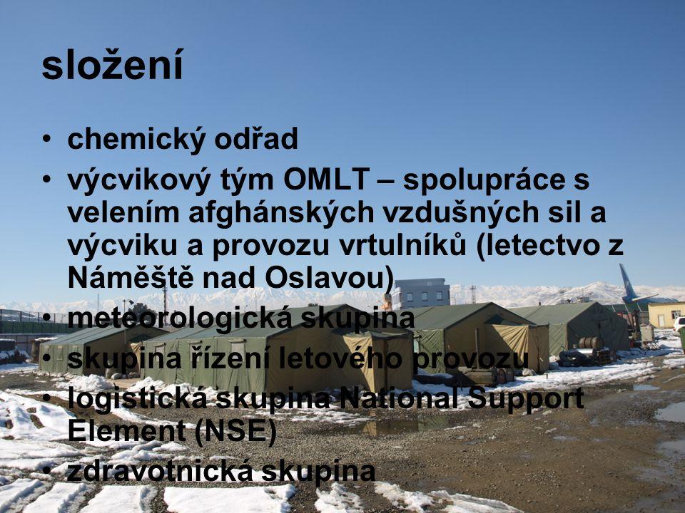 složení •chemický odřad •výcvikový tým OMLT – spolupráce s velením afghánských vzdušných sil a výcviku a provozu vrtulníků (letectvo z Náměště nad Osl
