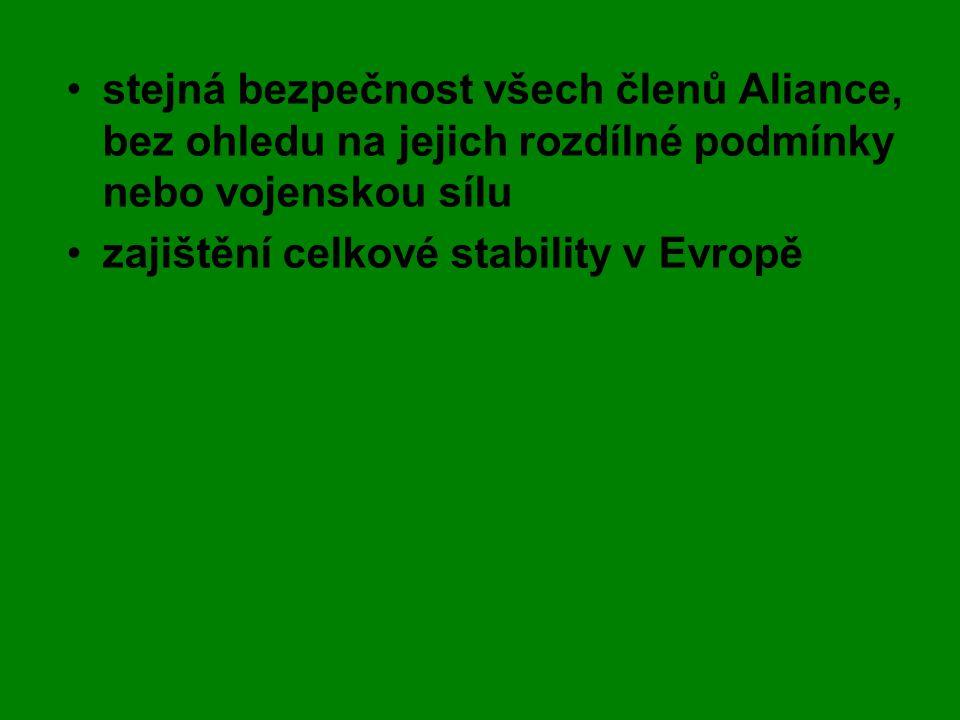 •stejná bezpečnost všech členů Aliance, bez ohledu na jejich rozdílné podmínky nebo vojenskou sílu •zajištění celkové stability v Evropě