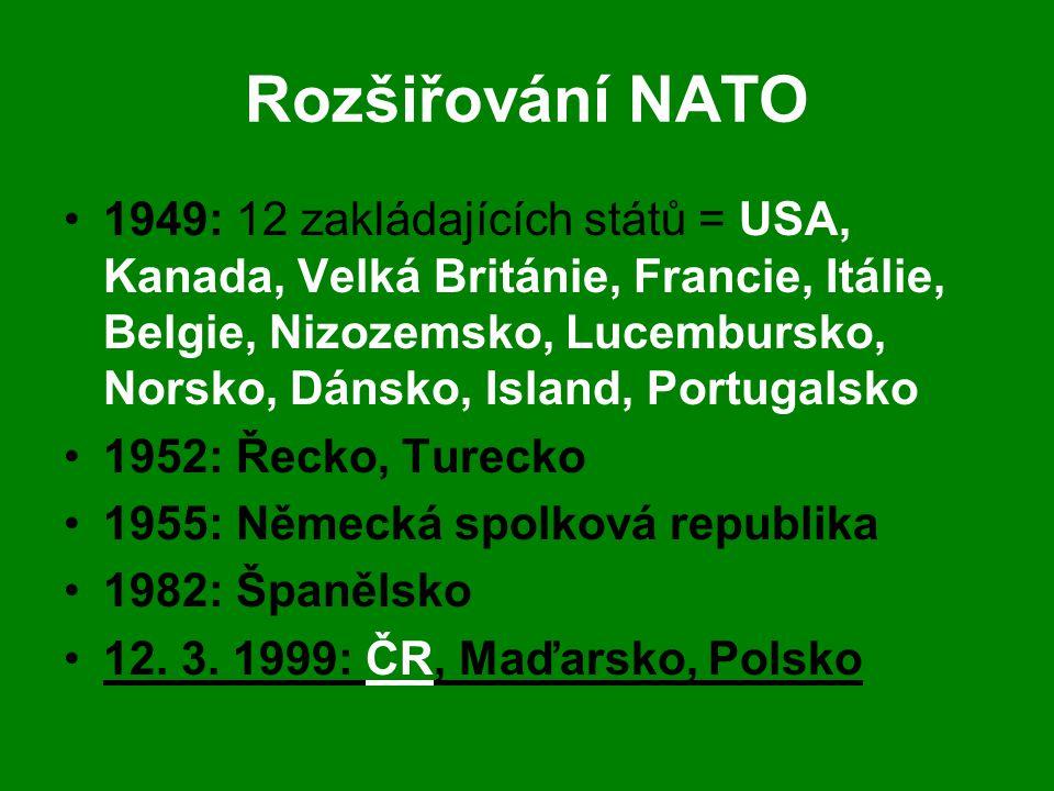 Rozšiřování NATO •1949: 12 zakládajících států = USA, Kanada, Velká Británie, Francie, Itálie, Belgie, Nizozemsko, Lucembursko, Norsko, Dánsko, Island