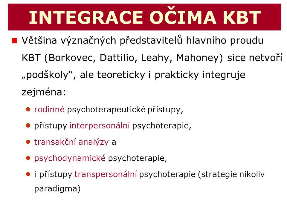 """INTEGRACE OČIMA KBT Většina význačných představitelů hlavního proudu KBT (Borkovec, Dattilio, Leahy, Mahoney) sice netvoří """"podškoly"""", ale teoreticky"""