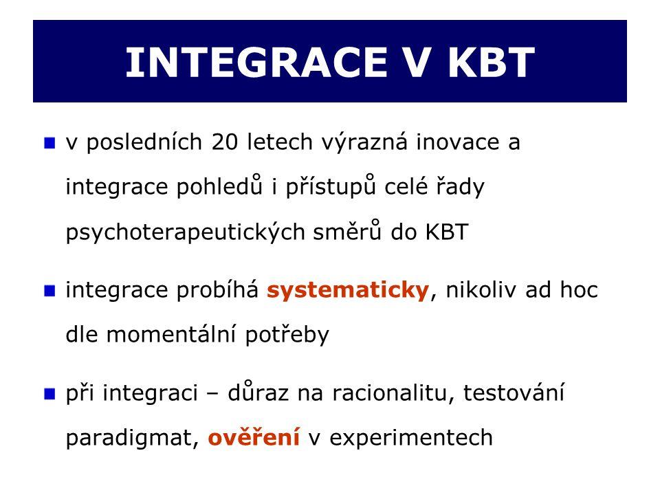 INTEGRACE V KBT v posledních 20 letech výrazná inovace a integrace pohledů i přístupů celé řady psychoterapeutických směrů do KBT integrace probíhá sy