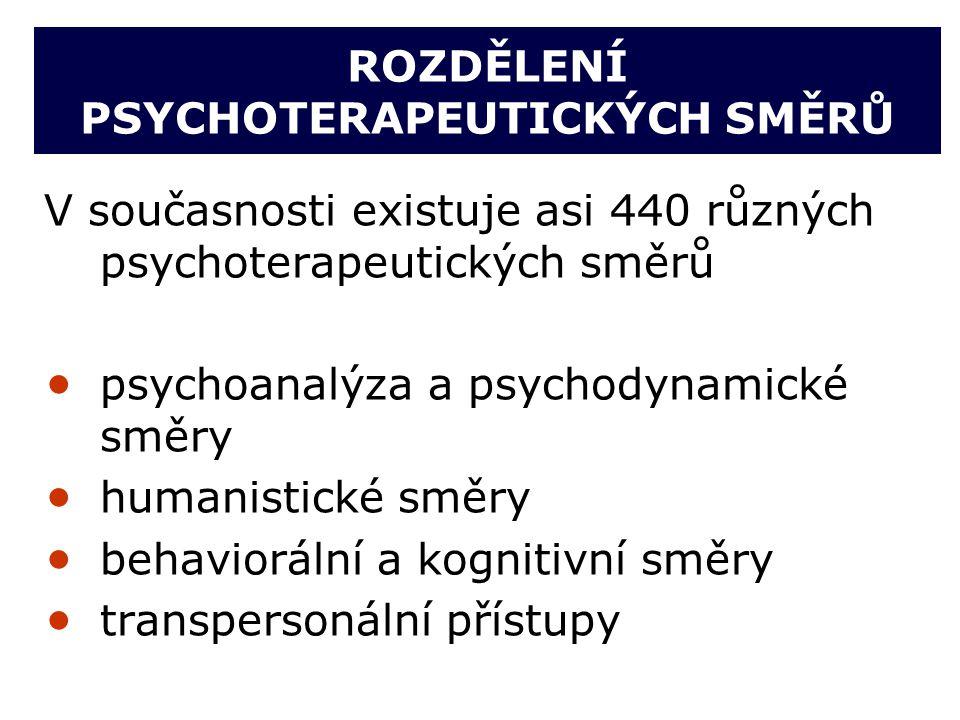 ROZDĚLENÍ PSYCHOTERAPEUTICKÝCH SMĚRŮ V současnosti existuje asi 440 různých psychoterapeutických směrů  psychoanalýza a psychodynamické směry  human