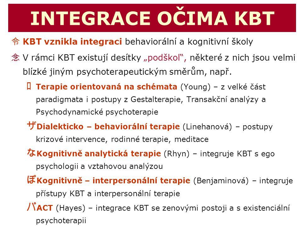 """INTEGRACE OČIMA KBT 令 KBT vznikla integraci behaviorální a kognitivní školy 念 V rámci KBT existují desítky """"podškol"""", některé z nich jsou velmi blízké"""