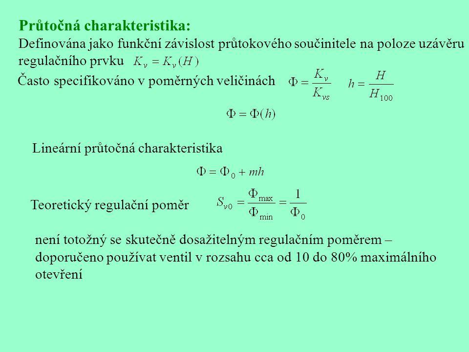 Průtočná charakteristika: Definována jako funkční závislost průtokového součinitele na poloze uzávěru regulačního prvku Často specifikováno v poměrnýc