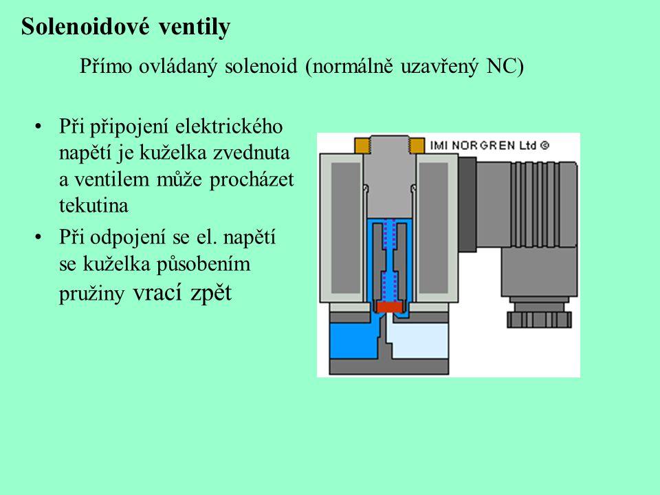 Solenoidové ventily Přímo ovládaný solenoid (normálně uzavřený NC) •Při připojení elektrického napětí je kuželka zvednuta a ventilem může procházet te