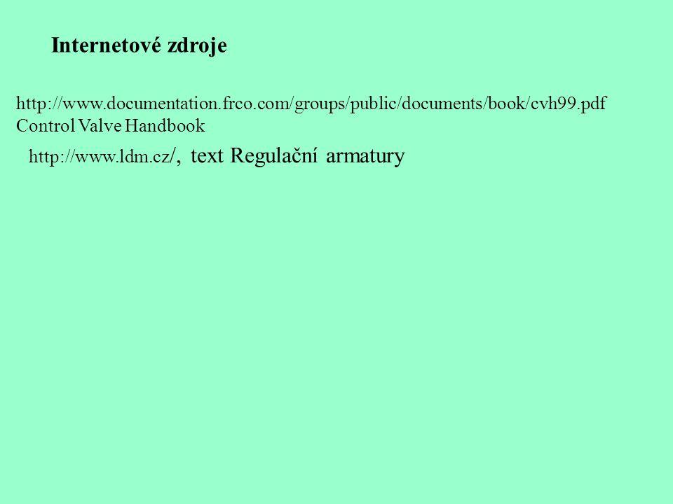 Internetové zdroje http://www.documentation.frco.com/groups/public/documents/book/cvh99.pdf Control Valve Handbook http://www.ldm.cz /, text Regulační