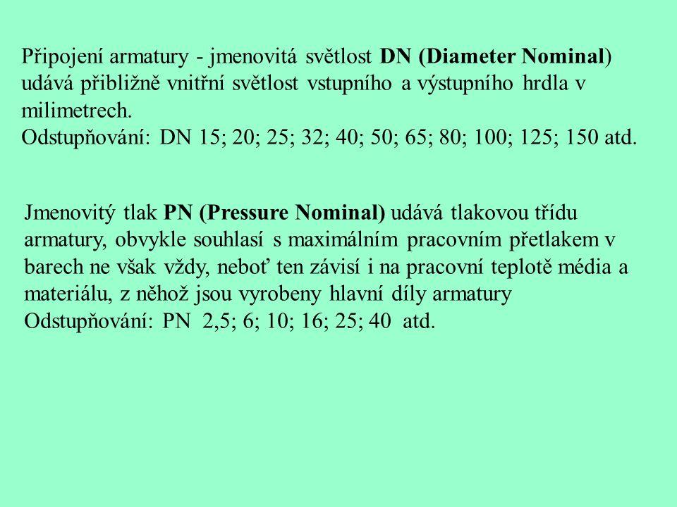 Připojení armatury - jmenovitá světlost DN (Diameter Nominal) udává přibližně vnitřní světlost vstupního a výstupního hrdla v milimetrech. Odstupňován