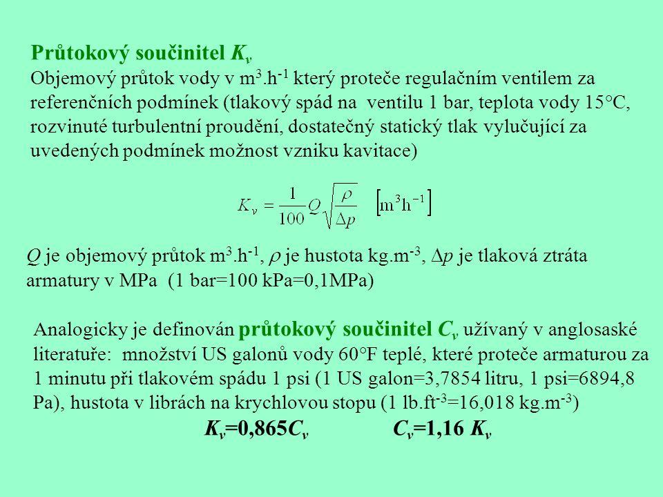 K vs - jmenovitá hodnota K v zcela otevřeného ventilu specifikovaná pro příslušný typ v katalogu, hodnoty vyráběných K vs jsou uspořádány do normou předepsané řady K v100 - hodnota K v zcela otevřeného ventilu změřená pro konkrétní ventil, může se lišit až o ±10% od K vs K v0 - hodnota K v zcela uzavřeného ventilu odpovídající jeho konstrukční průtočné charakteristice, od skutečné hodnoty K v při zcela uzavřeném ventilu se většinou výrazně liší Teoretický regulační poměr Obvyklé hodnoty S v0 jsou 20,25,30,50