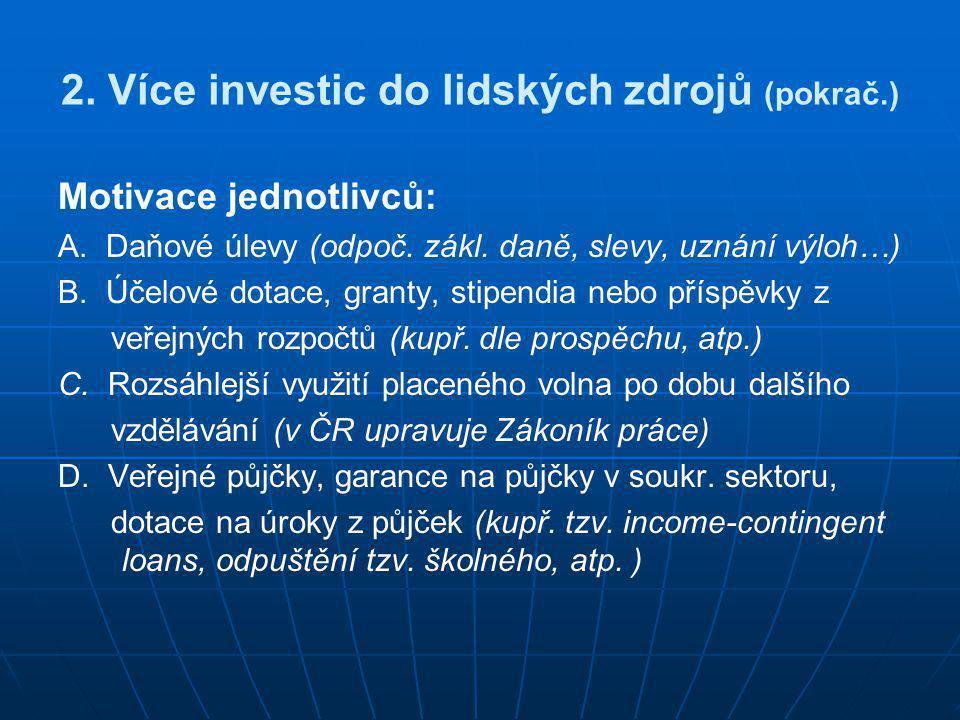 2. Více investic do lidských zdrojů (pokrač.) Motivace jednotlivců: A. Daňové úlevy (odpoč. zákl. daně, slevy, uznání výloh…) B. Účelové dotace, grant