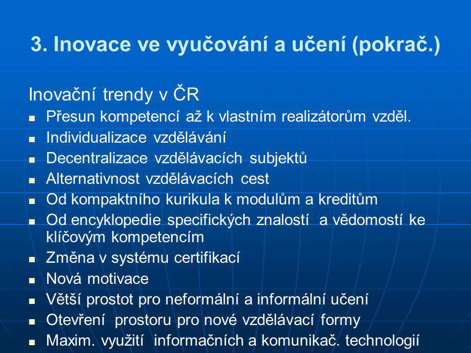3. Inovace ve vyučování a učení (pokrač.) Inovační trendy v ČR   Přesun kompetencí až k vlastním realizátorům vzděl.   Individualizace vzdělávání