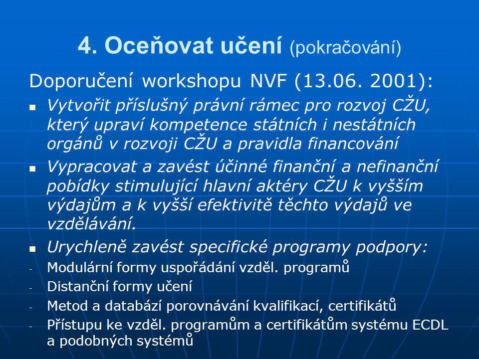 4. Oceňovat učení (pokračování) Doporučení workshopu NVF (13.06. 2001):   Vytvořit příslušný právní rámec pro rozvoj CŽU, který upraví kompetence st