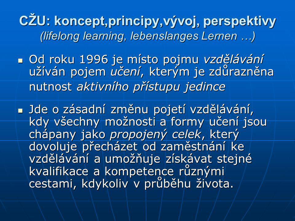 CŽU: koncept,principy,vývoj, perspektivy (lifelong learning, lebenslanges Lernen …)  Od roku 1996 je místo pojmu vzdělávání užíván pojem učení, který